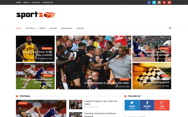 Sports Advance Search Responsive Blogger Template