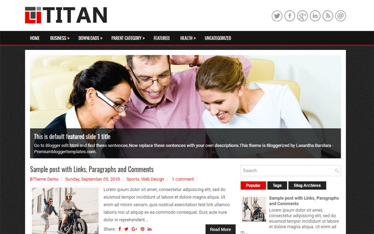 Titan Fully Responsive Magazine Blogger Template