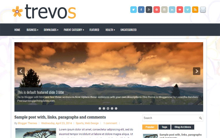 Trevos Mobile Friendly Responsive Blogger Template