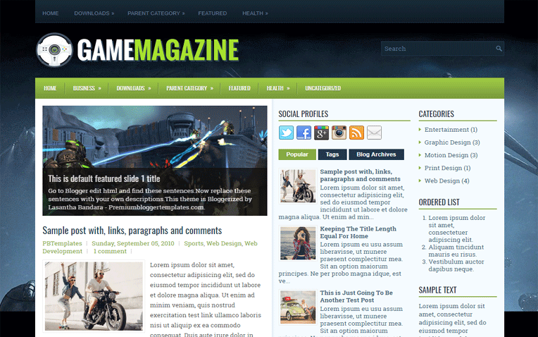GameMagazine Professional Clean Blogger Template