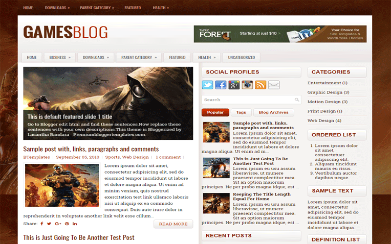 GamesBlog Magazine Responsive Blogger Template