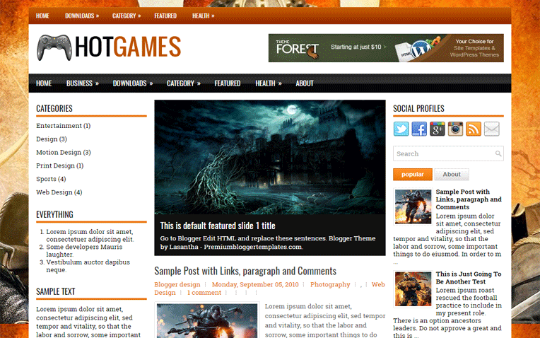 HotGames Personal Responsive Blogger Template