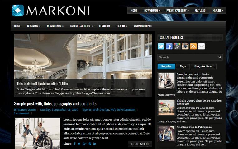 Markoni Magazine Clean Responsive Blogger Template
