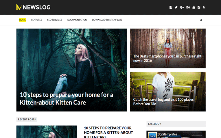 NewsLog Magazine Simple Clean Blogger Template