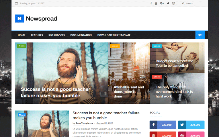 New Spread SEO Friendly Responsive Blogger Template