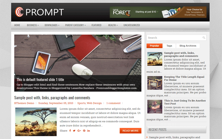 Prompt Clean Simple Responsive Blogger Template