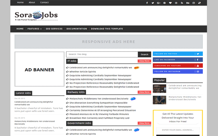 Sora Jobs Simple Clean Responsive Blogger Template