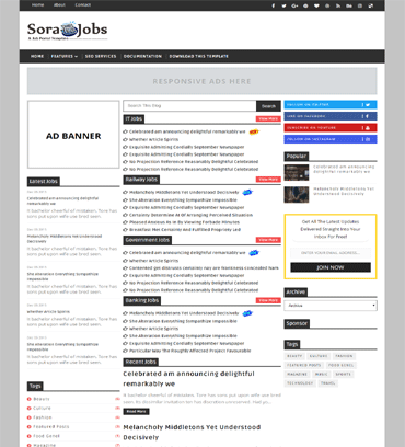 jobs template for blogger  Sora Jobs Simple Clean Responsive Blogger Template