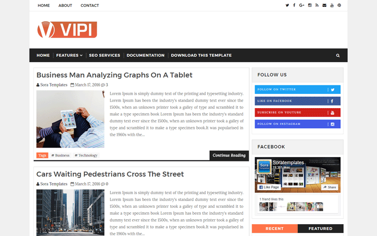 VIPI Blog Beautiful Clean Responsive Blogger Template
