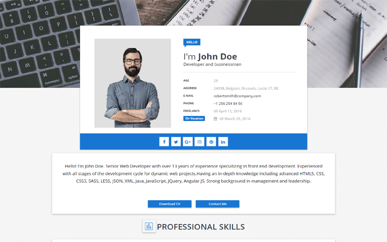 Sora CV Responsive Professional Blogger Template