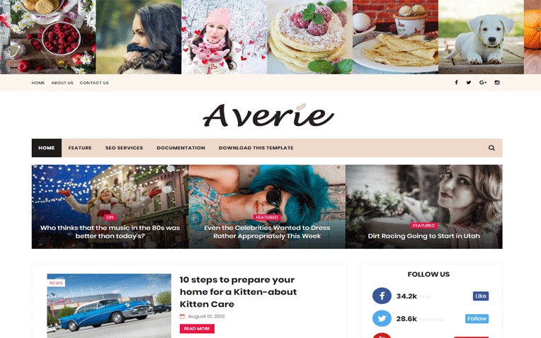 Averie Simple Minimal Responsive Blogger Template
