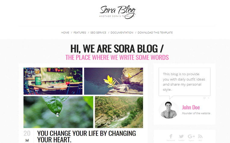 Sora Blog Personal Fashion Clean Blogger Template