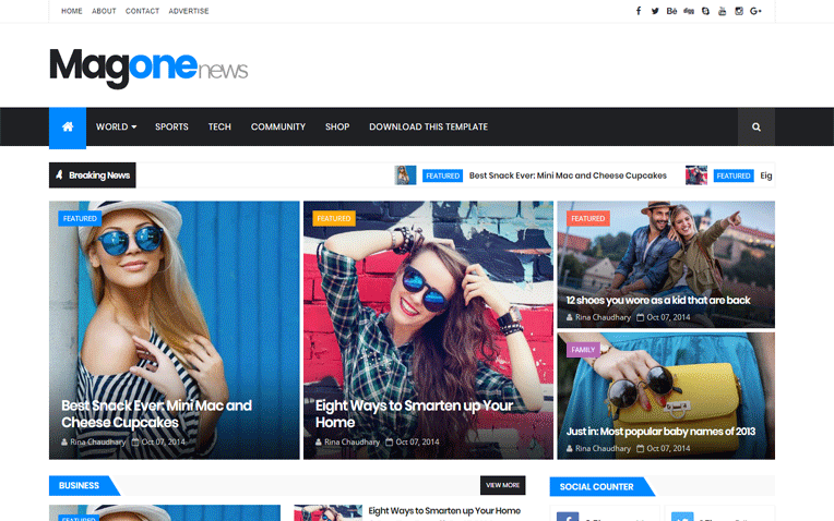 MagOne Stylish Magazine Responsive Blogger Template