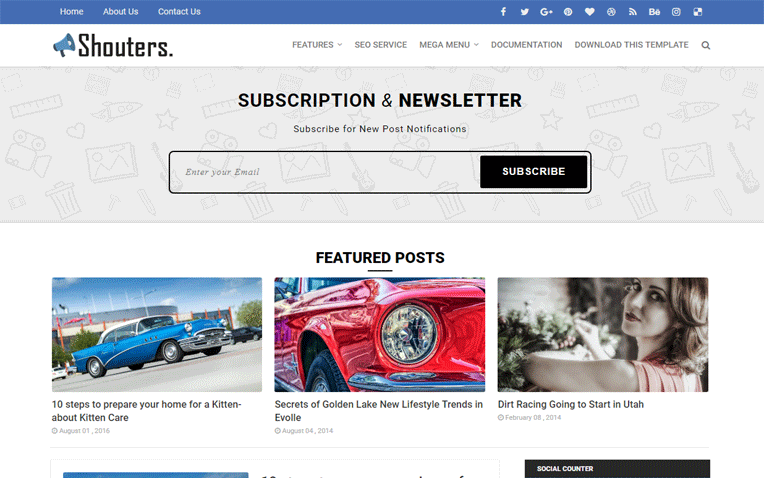 Shouters Magazine Clean Responsive Blogger Template