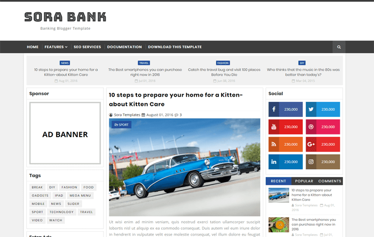 Sora Banking Simple Clean Blogger Template