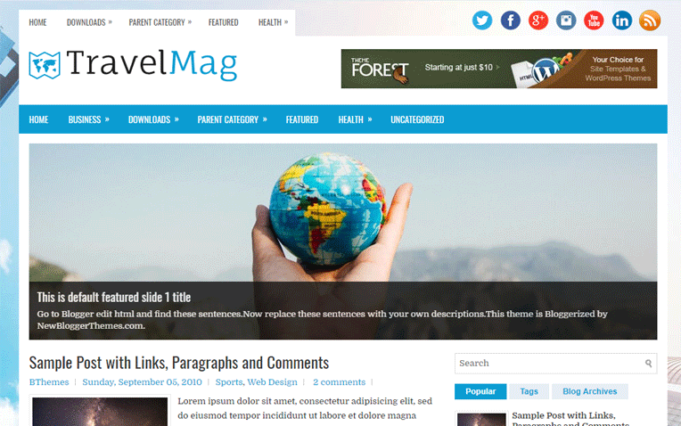 TravelMag Professional Magazine Blogger Template