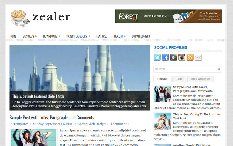 Zealer Simple Creative Responsive Blogger Template