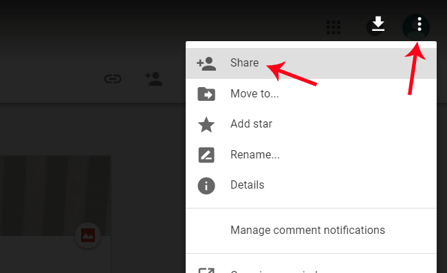Sharing the file on Google Drive