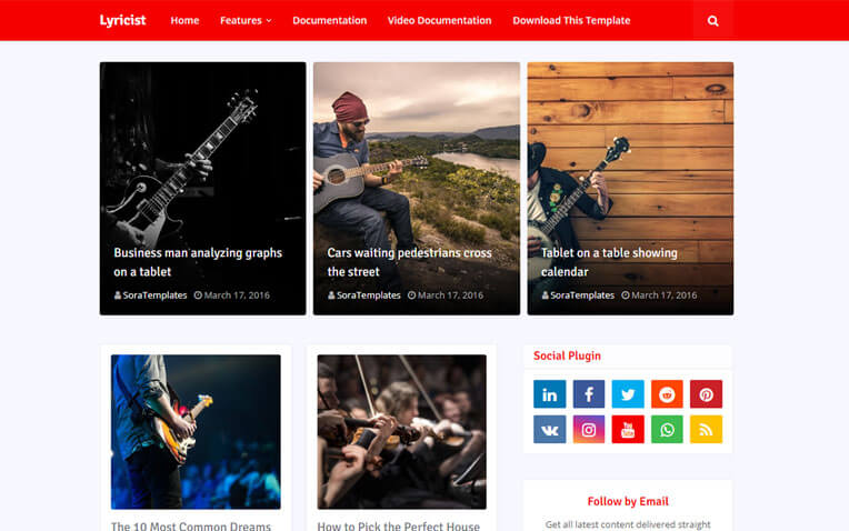 Lyricist Powerful Musical Blogger Template