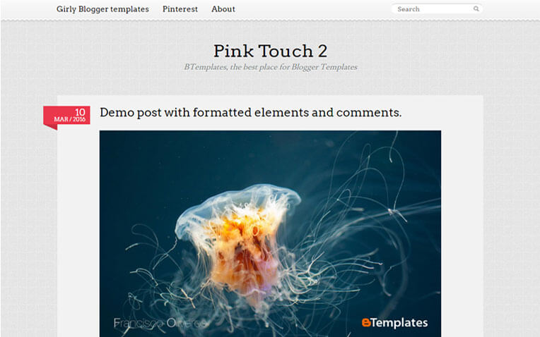 Pink Touch 2 Magazine Blogger Template