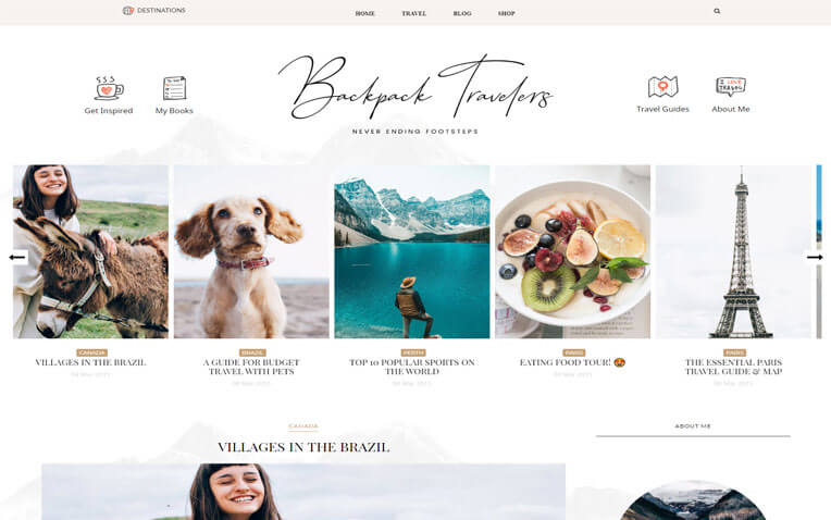 Backpack Premium Traveling blogger template
