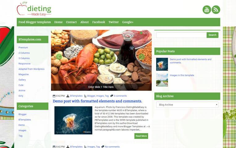 DietingMadeEasy Girly Responsive Blogger Template