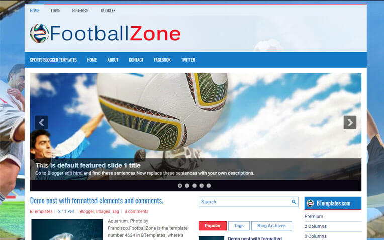 FootballZone Premium Blogger Template