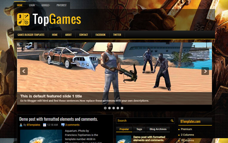 TopGames Gaming Responsive Blogger Template