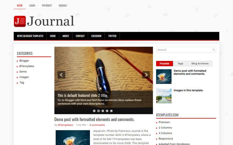 Journal Elegant Clean Responsive Blogger Template