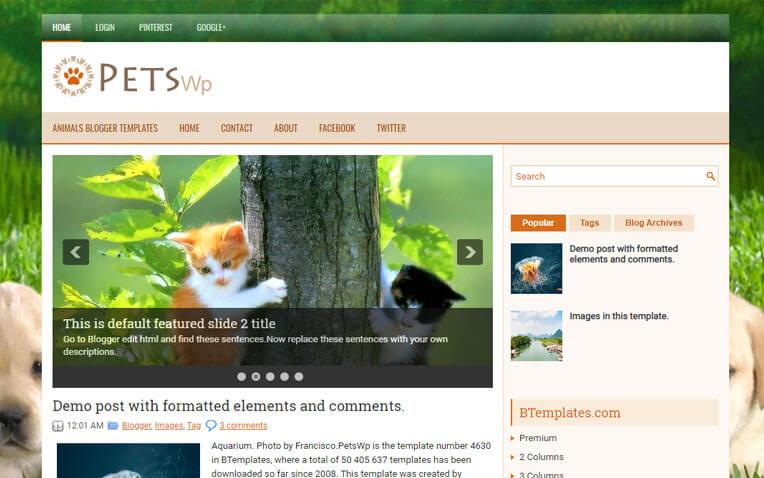 PetsWp Responsive Blogger Template