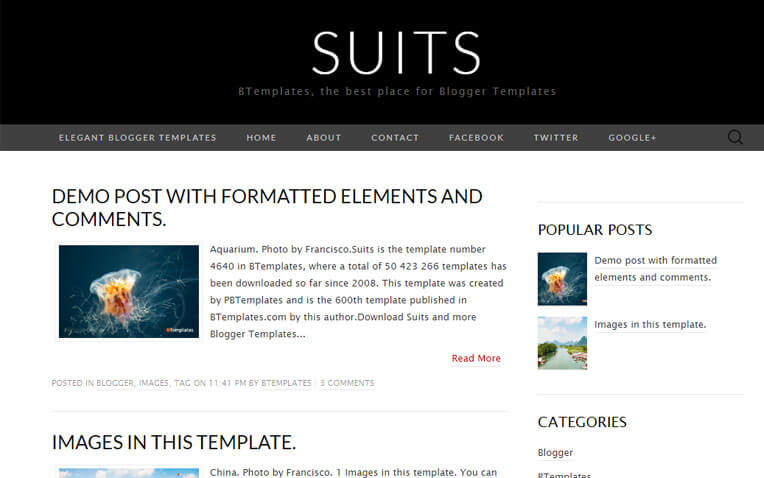 Suits Fashion Responsive Blogger Template