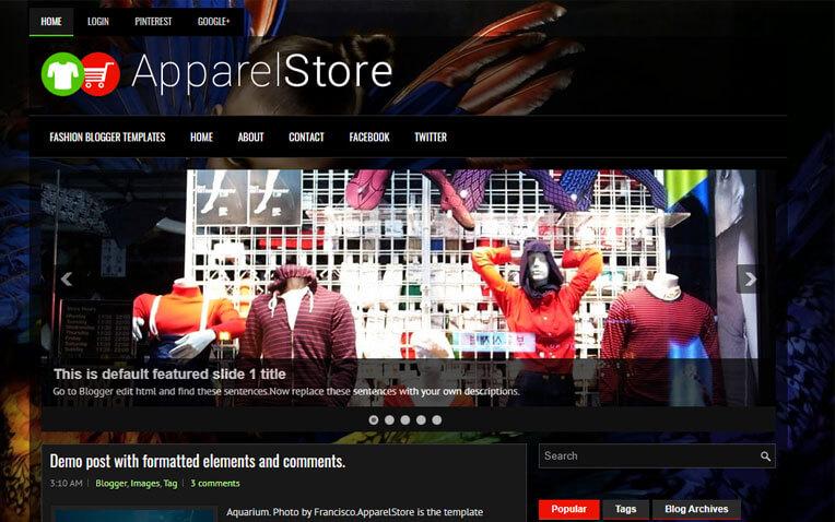 ApparelStore Fashion Magazine-Styled Blogger Template