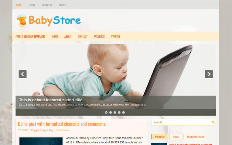 BabyStore Girly Responsive Blogger Template