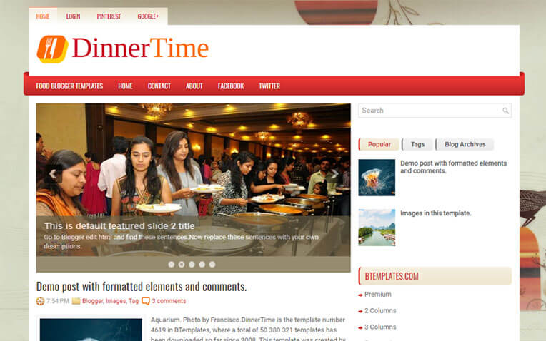 DinnerTime Foody Business Blogger Template