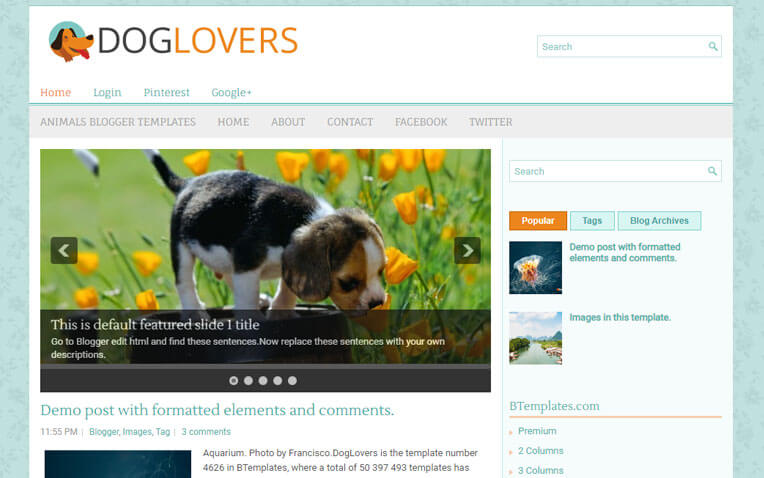 DogLovers Anime Responsive Blogger Template