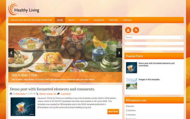 HealthyLiving Foody Responsive Blogger Template