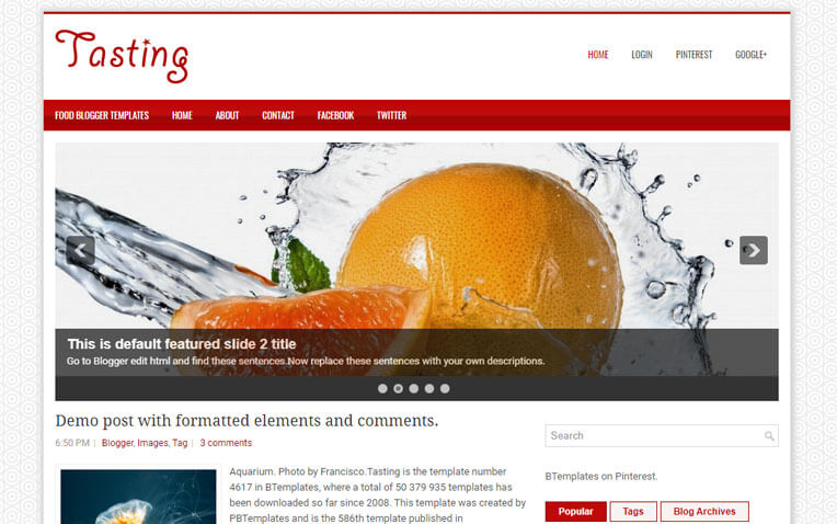 Tasting Girly Responsive Blogger Template