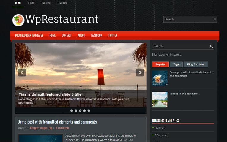 WpRestaurant Foody Responsive Blogger Template